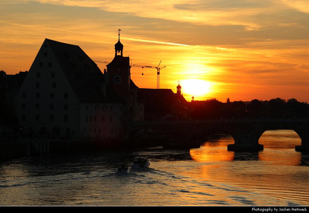 Sunset seen from Eiserne Brücke, Regensburg, Germany