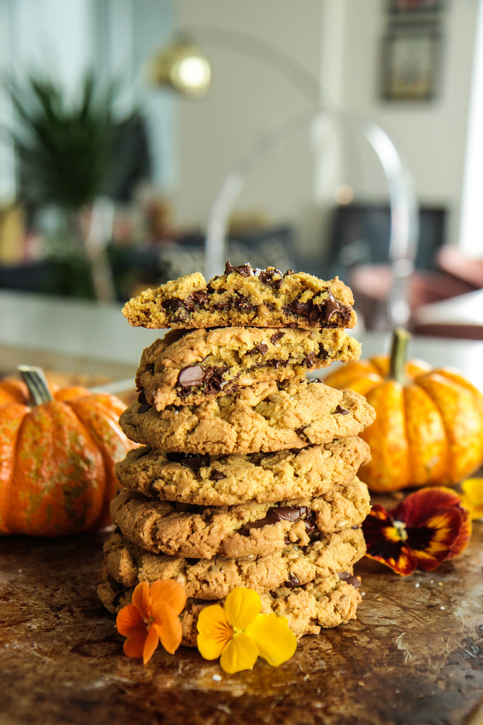 Salted Chocolate Chunk Pumpkin Sunbutter Cookies (vegan and gluten-free) from HeatherChristo.com