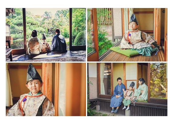 古民家で七五三のロケーション撮影 縁側と日本庭園
