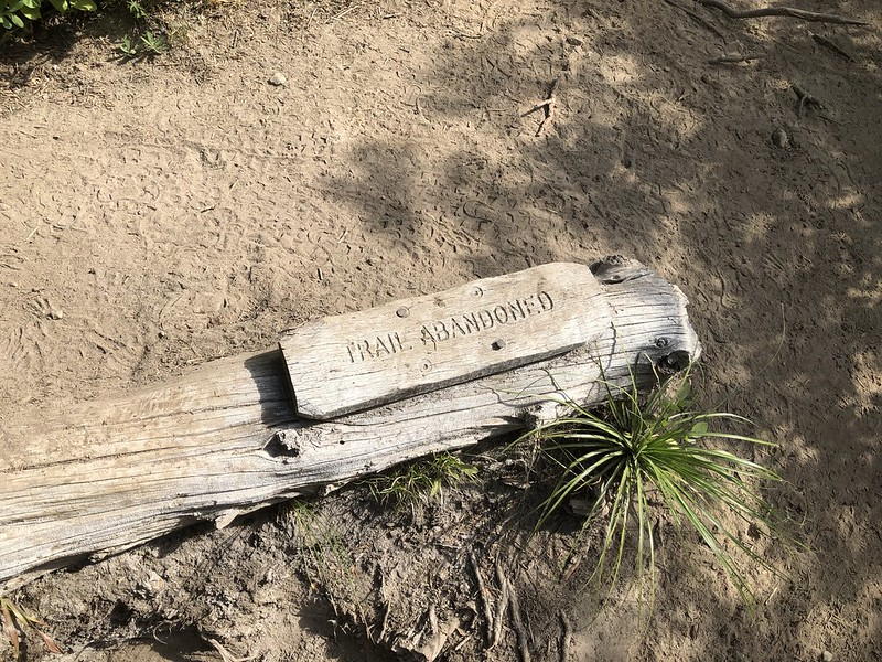 Trail Abandoned sign