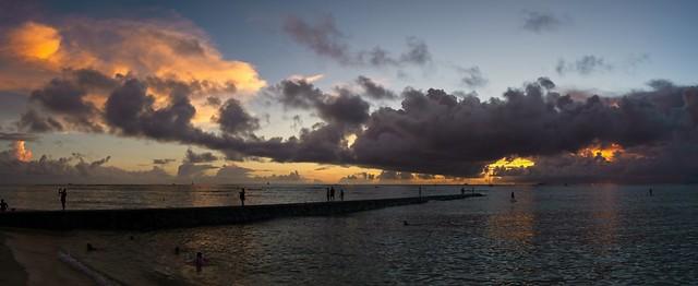 Cloudy Sunset at Waikiki HI