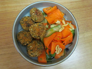 Chickpea-Nut Croquettes and Asian Peanut Salad