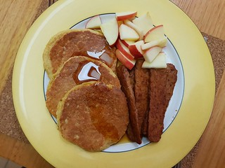 Tempeh Bacon; Melinda Pancakes; Apples; Maple Syrup