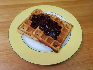Peanut Butter Waffles; Blueberry Ginger Whole Berry Sauce