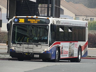 *samTrans 442 2009-2010 Gillig BRT 40' Cummins ISL Voith D864.5ADR 398 REDWOOD CITY VIA SFO San Bruno BART Station.