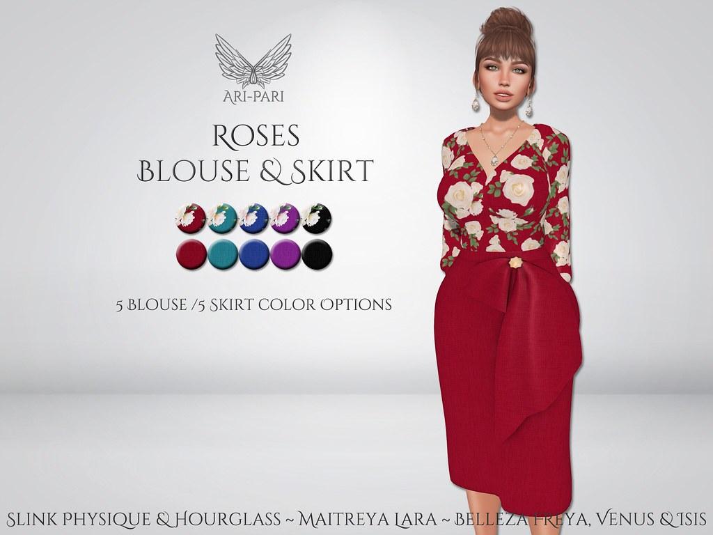 [Ari-Pari] Roses Blouse & Skirt