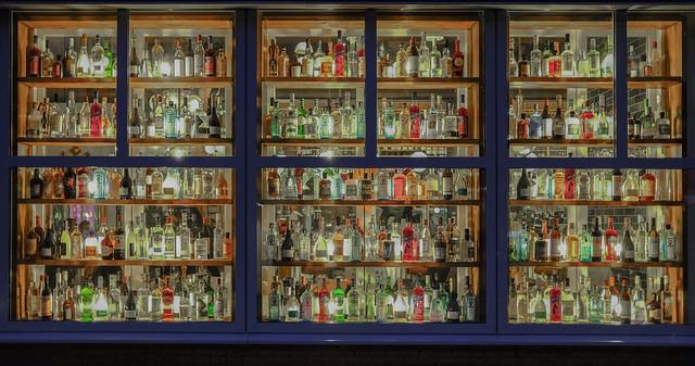 A window full of bottles