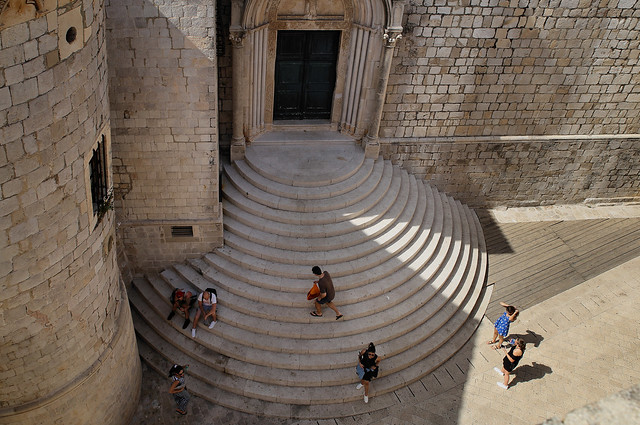 The semicircular staircase of St. Sebastian invites you to sit down