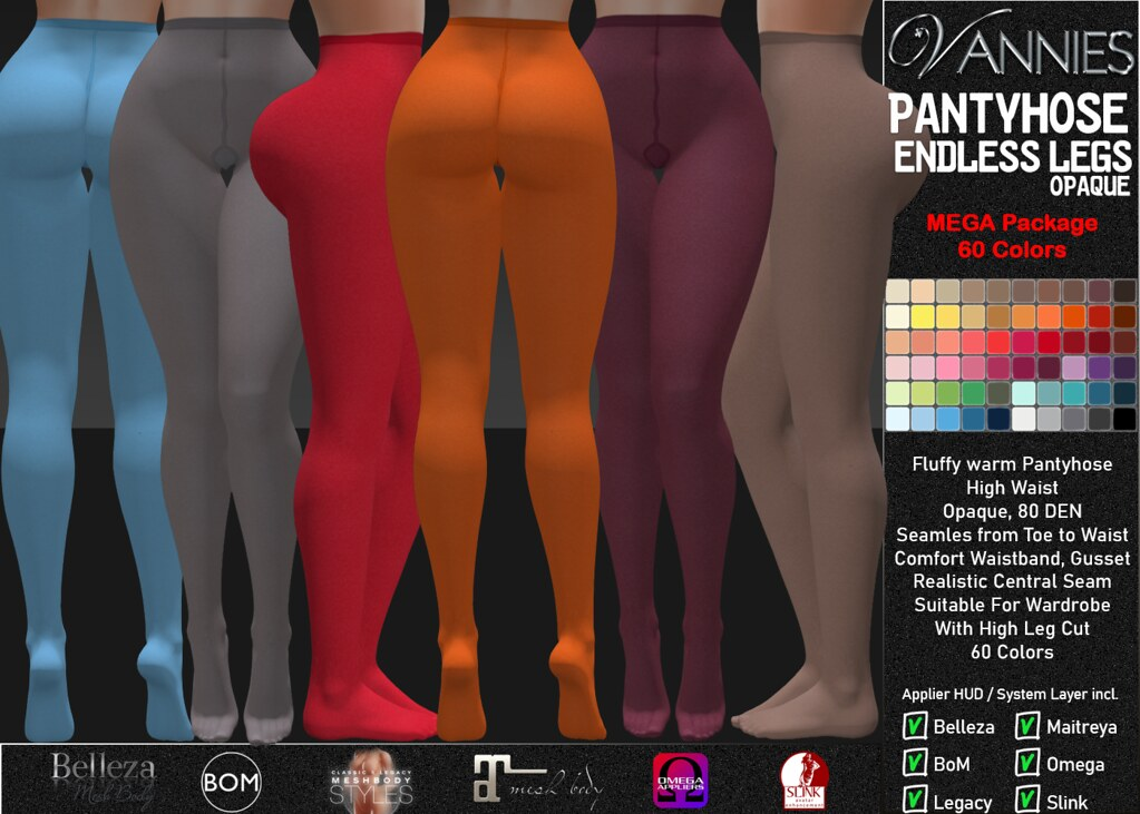 VANNIES Pantyhose Endless Legs Opaque Megapack 60 Colors