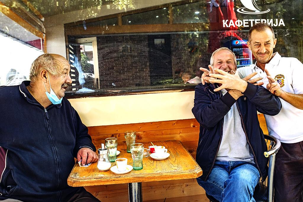 Petar and friends at cafe near bus station on 10-3-20--Gostivar