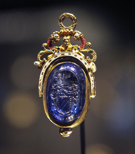 Seal and case, about 1580, England, Sapphire intaglio set in enameled gold