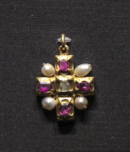 Pendant cross, Germany, 1500-40, enamelled gold withpearls, rubies and colourless stone