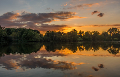summer tree sunset maidstone reflections sonyrx100m3 water lake kent motepark clouds england