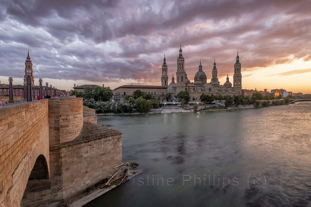 Gorgeous Zaragoza as the sun sets dramatically. Christine Phillips