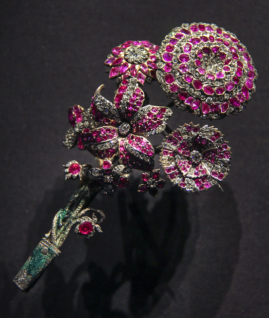 Brooch, Russia, about1750-70, rubies and brilliant-cut diamonds set in gold and silver, with enamel, Pin added later, Formarly in the Russian Crown Jewels