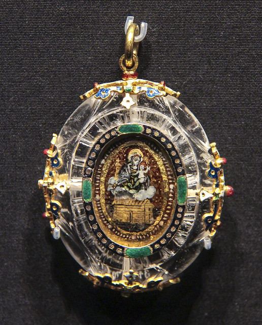 Pendant with the Virgin of Loreto, Spain, about 1580, enamelled gold with rock crystal and verre eglomise