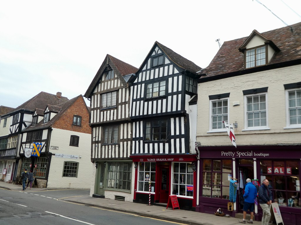 Tudor buildings along Tewkesbury's high street