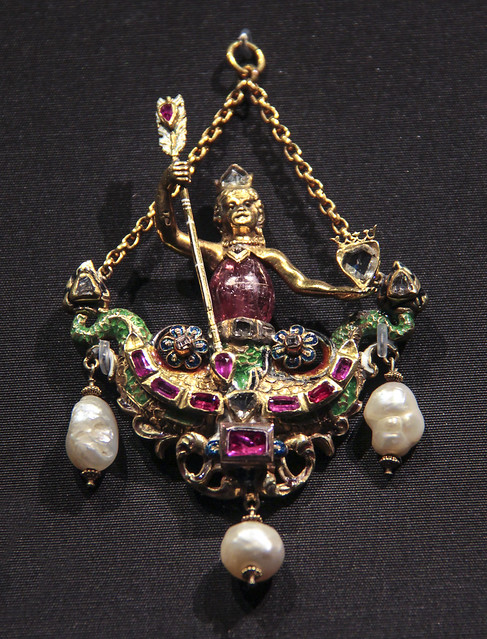 Pendant with double-tailed mermaid, Austro-Hungarian Empire, 1850-1900, enamelled gold with diamonds, pink tourmaline, rubies and baroque pearls. Copy of an jewel in the Green Vaults, Dresden