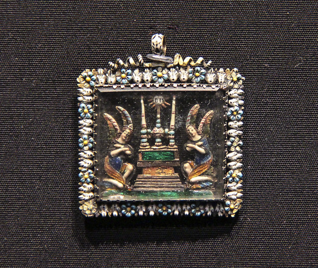 Pendant, France, about 1650, gold with enamel and glass