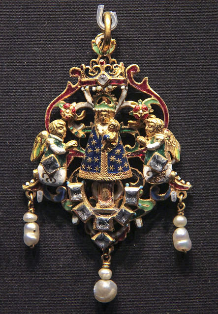 Pendant with the Virgin of the Pillar, Spain, Saragossa, about 1590, enamelled gold with table-and rose-cut rock crystals and pearls