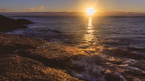 autumn dawn dunmoreeast landscape muircheilteach outdoor rocks sun sunrise water clouds coast coastal coastline ireland munster sea sky waterford waves