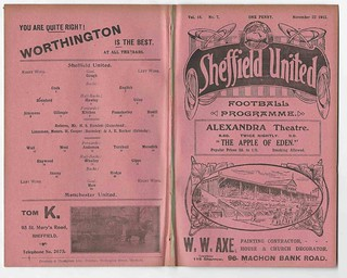 Sheffield United v Manchester United English League Division One Season 1913-14