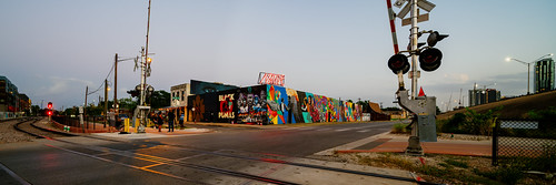 austin panorama texas unitedstates muralart projects protests2020 streetart tx usa 4thstreet native neon neonsign railroadtracks railroadcrossing evening nativehostel chrisrogersart chrisrogers mural