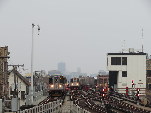 Red & Brown Line CTA Trains at the Clark Street Junction