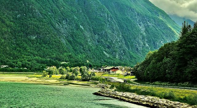 Scenic Olden - village along the lake