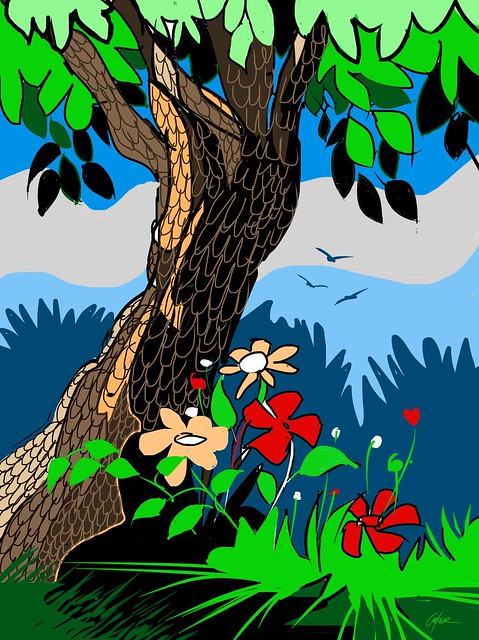 SIMPLY STYLIZED TREE AND FLOWERS.