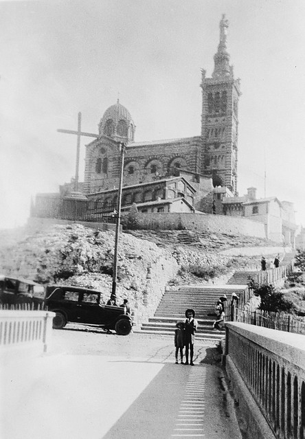 Notre-Dame de la Garde, end of bridge from the funicular to the cathedral, Marseille, 1934