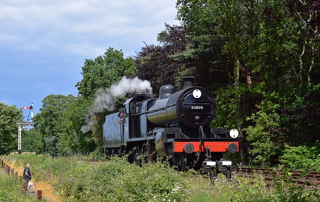 S&DJR 7F 2-8-0 Locomotive No.53809 sits at Holt awaiting the signal on a positioning move. North Norfok Railway. 15 06 2019