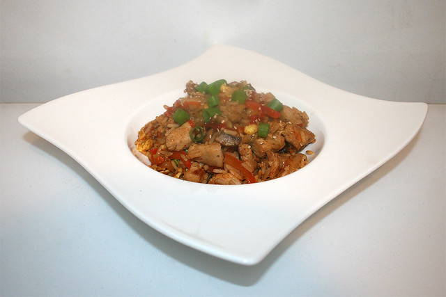 51 - Asian fried rice with chicken - Side view / Asiatischer Bratreis mit Huhn - Seitenansicht