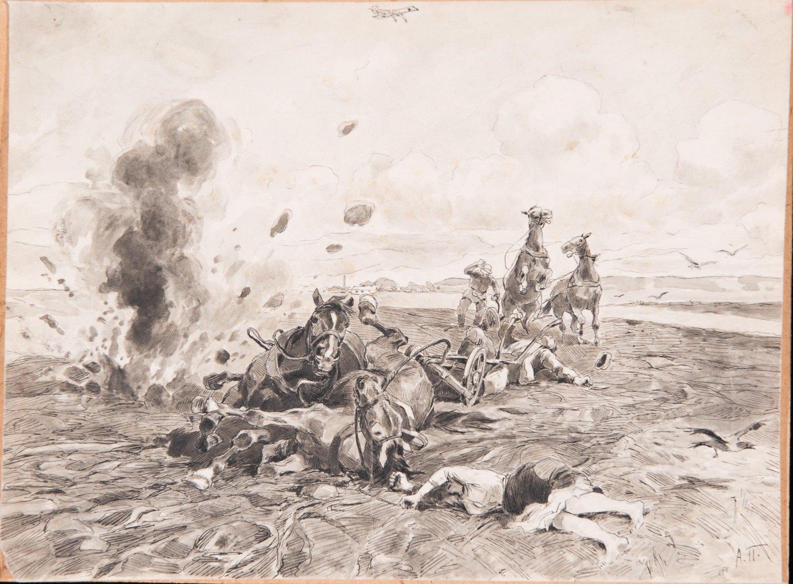 1916. На бродском направлении. Разрыв бомбы, сброшенной немецким самолетом на поле с крестьянами