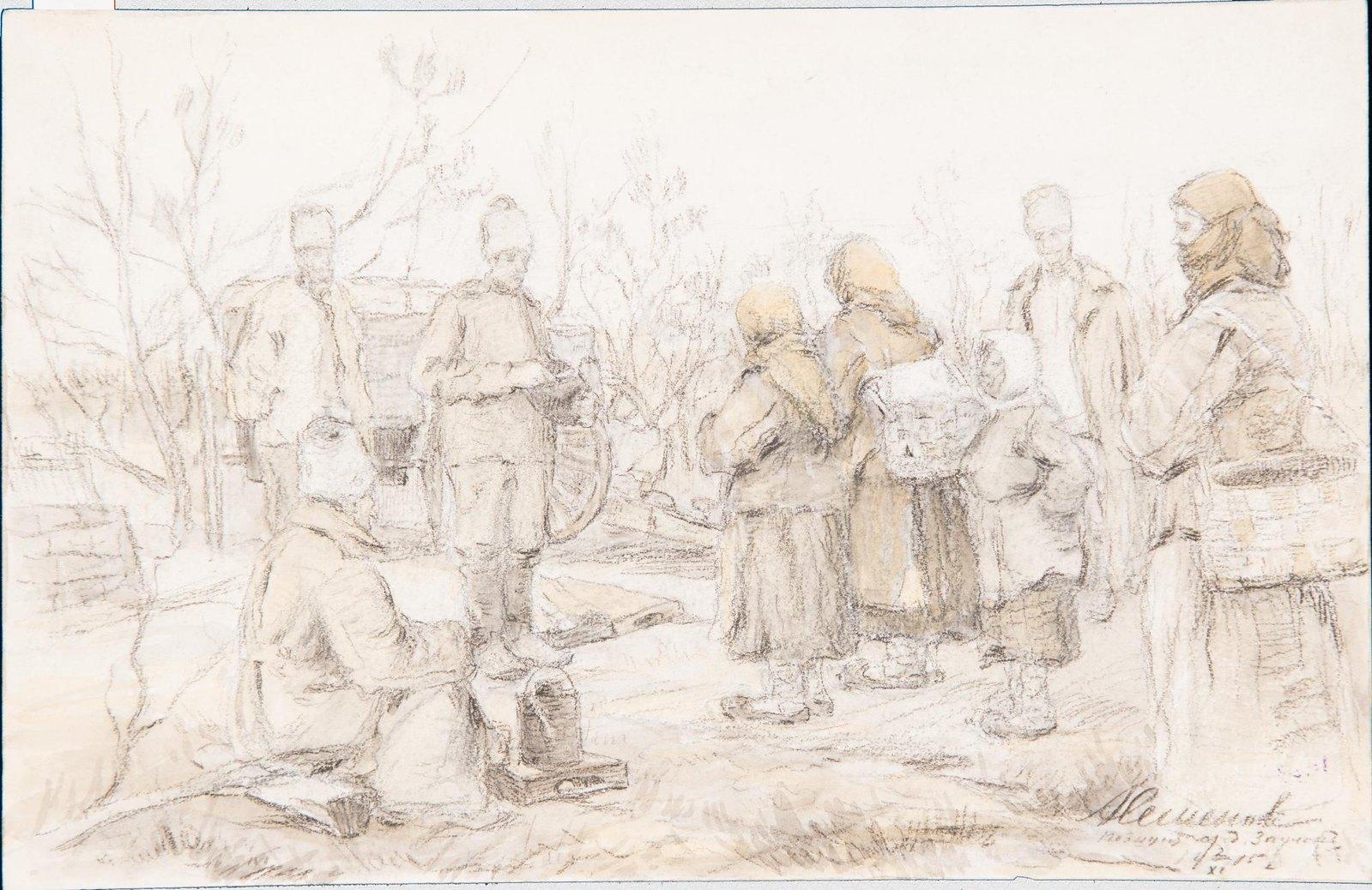 1915. Беженцы среди солдат артиллерийской батареи. Позиция у деревни Заулок в Волынской губернии. 2 ноября