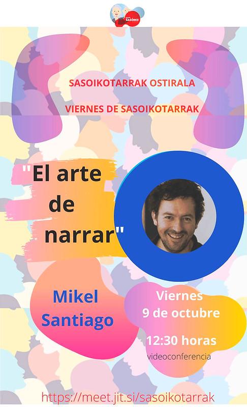 """Videoconferencia BBKsasoiko """"El arte de narrar"""" con Mikel Santiago"""