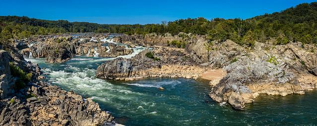 Panoramic view of Potomac River at Great Falls National Park - Great Falls VA