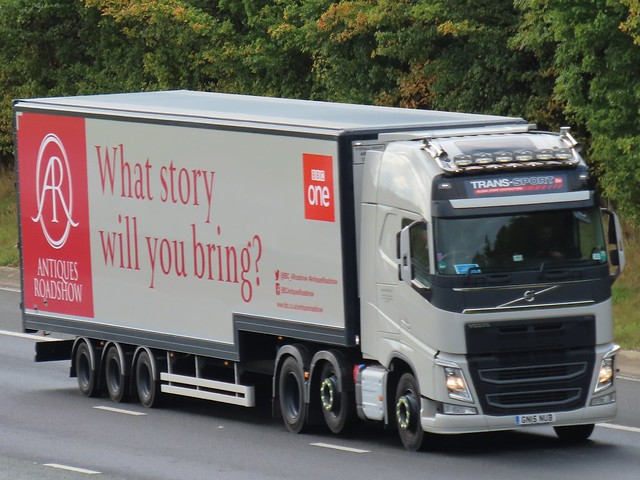 Trans-Sport, BBC Antiques Roadshow Trailer, Volvo FH (GN15NUB) On The A1M Northbound