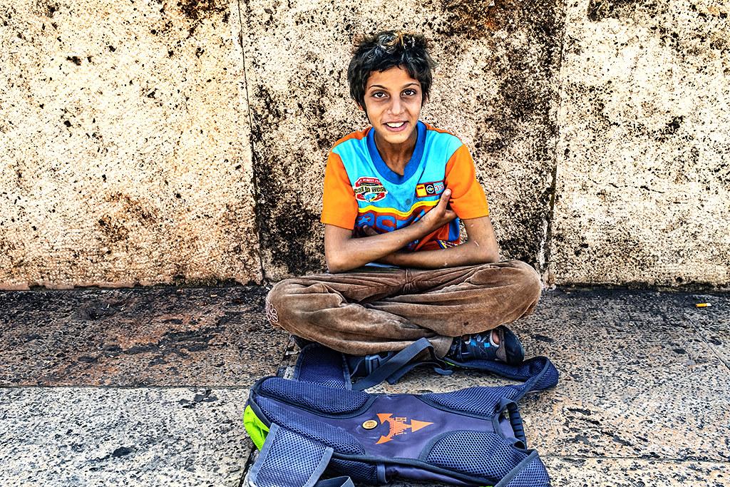 Gypsy boy begging on 10-4-20--Skopje 2
