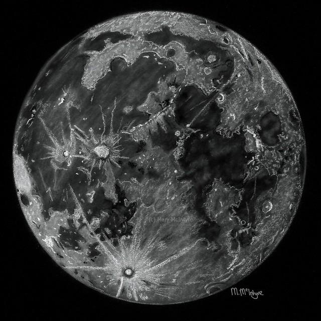 Full Moon Pastel Sketch
