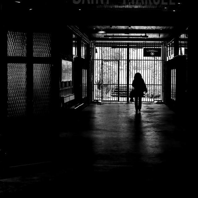 In the dim light