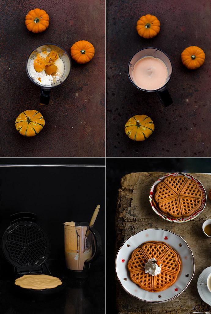 Waffle alla zucca con croccante ai semi