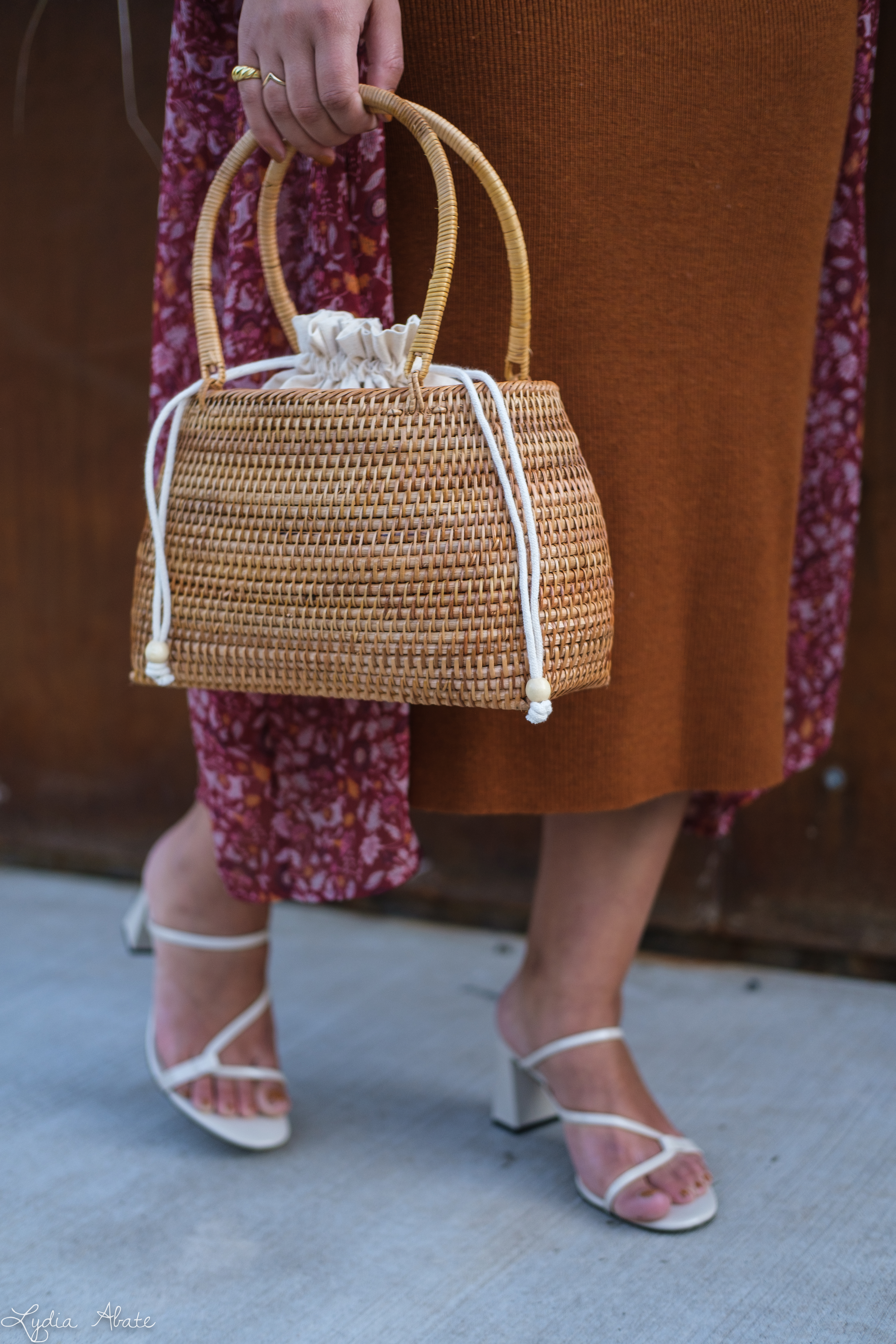 rust knit sheath dress, red floral kimono, basket bag, strappy sandals-11.jpg