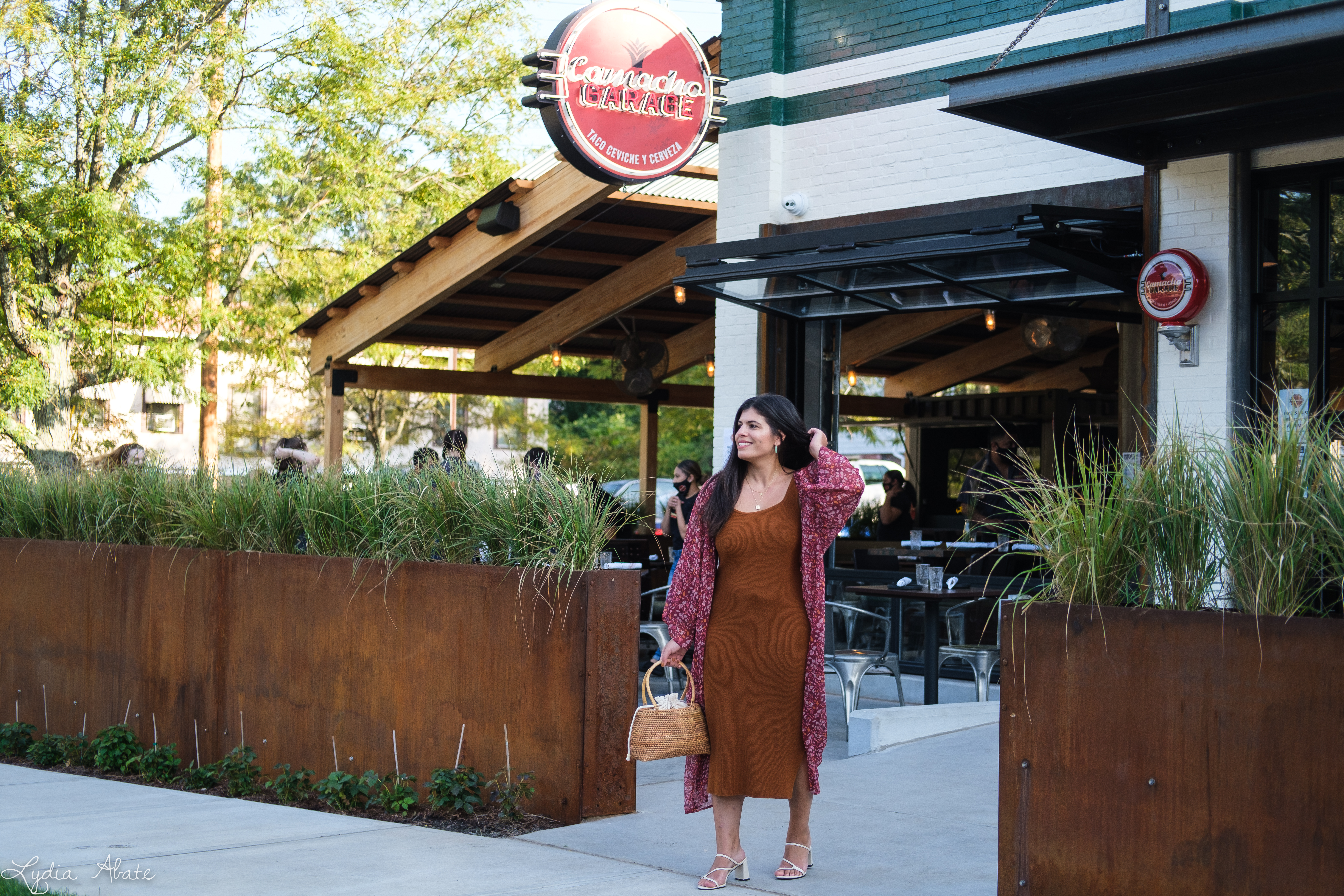 rust knit sheath dress, red floral kimono, basket bag, strappy sandals-13.jpg