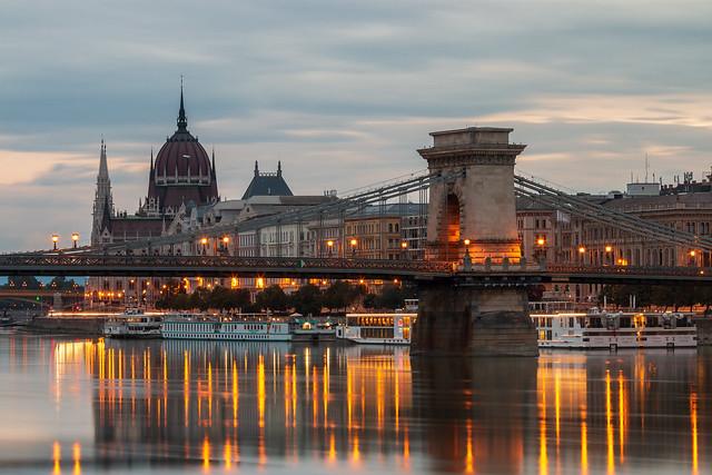 Chain bridge at daybreak