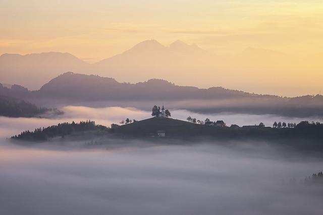 Mist Inversion at St Thomaz Church, Skofja Loka, Slovenia
