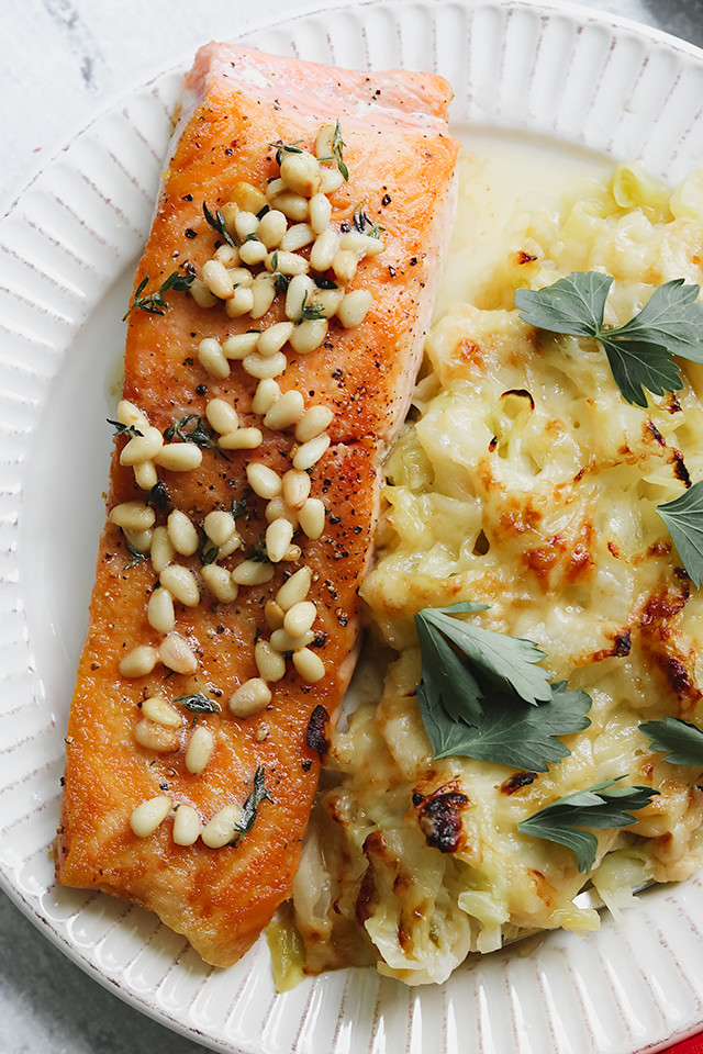 Salmon Meuniere with Gruyere-Roasted Cabbage