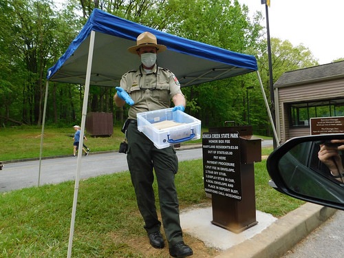 Photo of ranger at park entrance, wearing mask and holding out plastic container