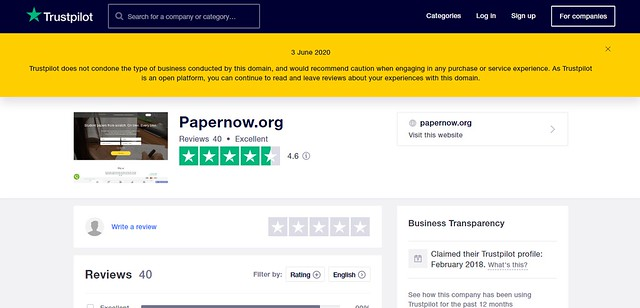 Reviews about papernow at TrustPilot