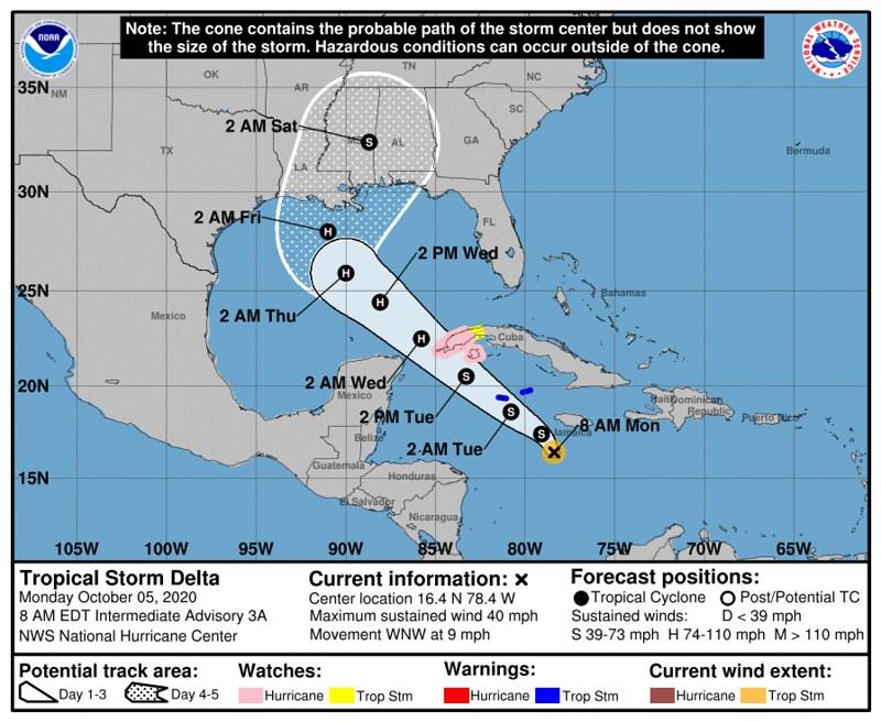 Hurricane Delta - https://www.nhc.noaa.gov